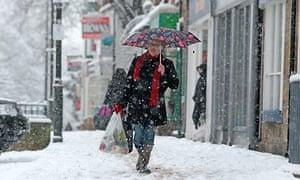 High street shopper in the snow