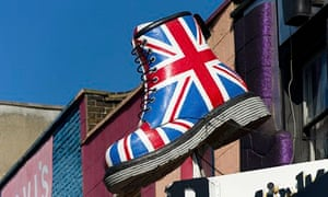 A giant Dr Martens boot painted with the union jack on Camden High Street, London