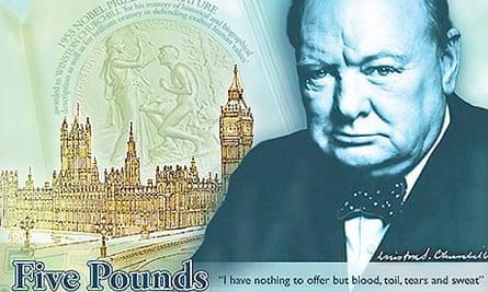 Polymer five pound note