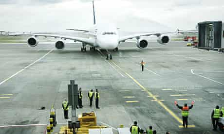 An A380 arrives at Heathrow