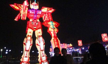 Giant robot shaped lantern in Suzhou city, Jiangsu province, China