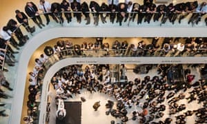 John Lewis and Waitrose staff gather to hear the partnership's financial results, March 2013