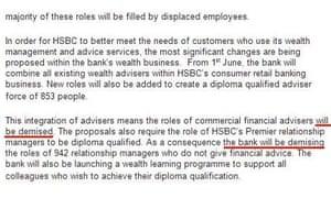 HSBC job cuts press release