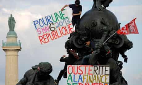 Anti-austerity protestors in France