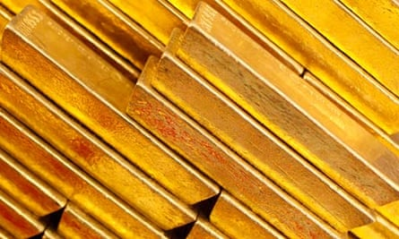 Gold bars at the Czech National Bank in Prague