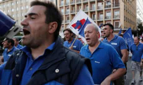 Communist-affiliated trade union PAME marches against labour reforms in Athens 23 May 2013