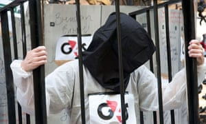 Protesters demonstrate in front of G4S's AGM, June 2013