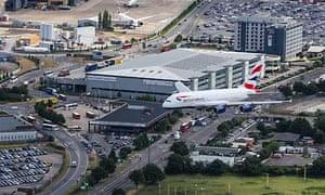 British Airways first Airbus A380 superjumbo at Heathrow