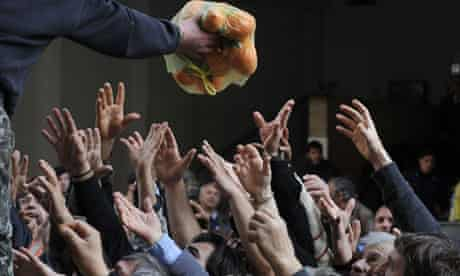 Distribution of fruit and vegetables by Greek farmers outside the Agriculture Ministry in Athens