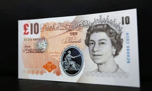 A sample polymer £10 pound banknote