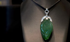 A pendant made from jade from Myanmar on display at the Hong Kong Jewellery and Gem Fair