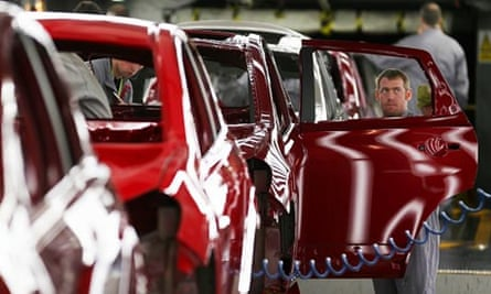 Nissan car on the production line at the Sunderland plan