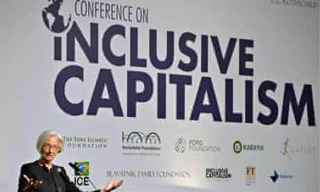 Christine Lagarde, the head of the IMF, presents her address to the Inclusive Capitalism Conference.