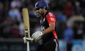 Ravi Bopara walks off after hitting 96 for England against India