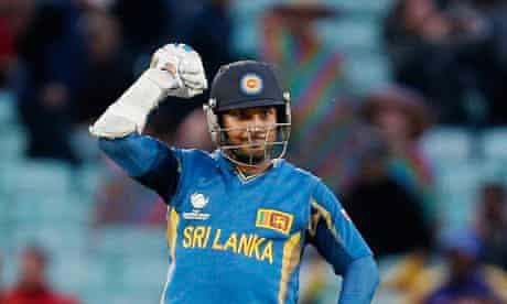 Kumar Sangakkara of Sri Lanka celebrates the Champions Trophy win over England