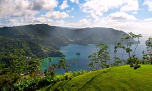 View across Pirates Bay towards Man of War Bay from Flag Staff Hill Tobago
