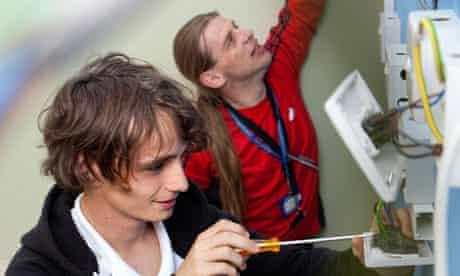 Joshua Hand and Tim Hibbert at Barking and Dagenham college.
