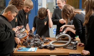 Year 9 pupils get to grips with disassembly of a vacuum cleaner provided by James Dyson Foundation
