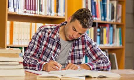 Student studying A-level choices