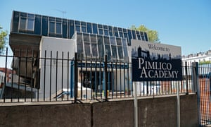 Main entrance to Pimlico Academy, a secondary school in the Pimlico area of Westminster, London, UK.