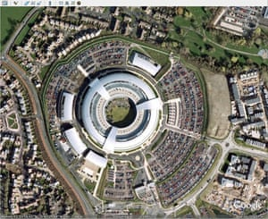 Architecture: Aerial view of GCHQ  building in Cheltenham.