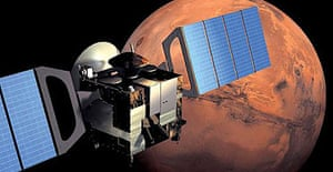 The Mars Express orbits the planet, carrying the Beagle 2 probe