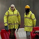 Construction workers at the Oxford University animal testing lab