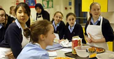 Pupils in a food technology class