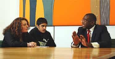 David Lammy is interviewed by school pupils