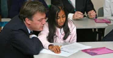 Schools minister Ed Balls at Preston Manor school, London