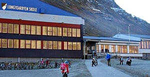 Pupils arrive at Longyearbyen school, the northernmost school in the world