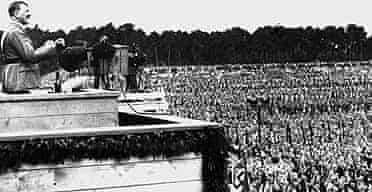 Adolf Hitler addressing the gathering of his staff chiefs at the Nazi demonstration held on the Reichsparteitag area in Nuremberg, Germany, in September 1933