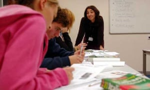 A teacher giving an Italian lesson to students at Canterbury College, Kent