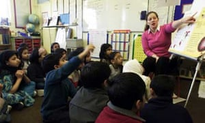 A teacher giving a lesson to pupils at Osami primary school in London
