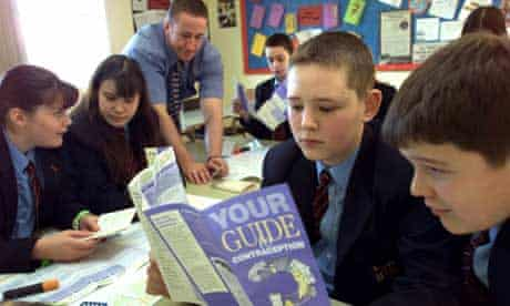 A teacher giving a sex education lesson to pupils at Ivy Bank School, Burnley