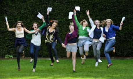 Pupils celebrate getting their GCSE results at Badminton School, Bristol