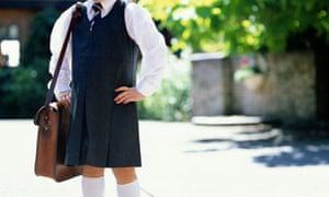 Girl in uniform goes back to school
