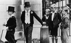 Eton boys in top hats, London, 1936
