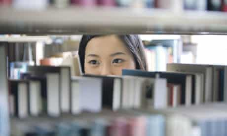 Chinese student in library