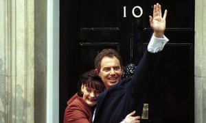 Tony Blair and Cherie Booth arrive at No 10 Downing Street after Labour wins the 1997 general election