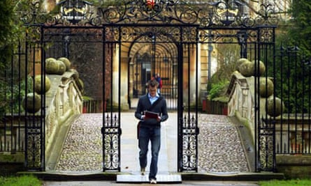 A student outside Clare College, Cambridge. Photograph: PA/Andrew Parsons