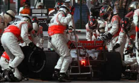Lewis Hamilton enters the pits of the Sakhir racetrack