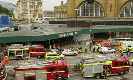 Emergency services at Kings Cross after the London bombings on July 7 2005