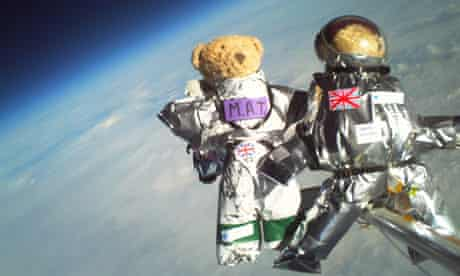 Teddy bears at 30,000 metres wearing space suits designed as part of a project with Cambridge University's spaceflight student club. Photograph: Cambridge University