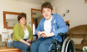 Helen Meakes and her son Joe, who has cerebral palsy. Photograph: Frank Baron