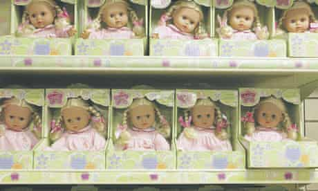 Stores often have separate areas or even floors for girls' and boys' merchandise, which researchers say gives the impression that some toys are out of bounds. Photograph: Frank Baron