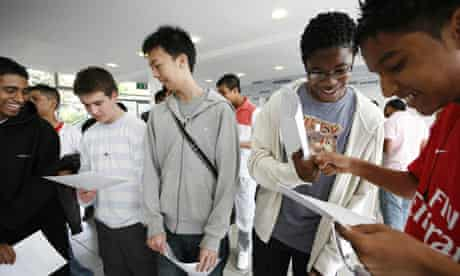 Pupils collect their GCSE results at Morpeth school in Bow