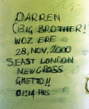 Toilet graffiti: Darren Ramsay scrawled this message on the airport toilet wall