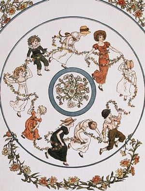 Nursery Rhymes: Nursery Rhymes: Frontispiece from Kate Greenaway's Marigold Garden
