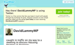David Lammy MP's page on Twitter